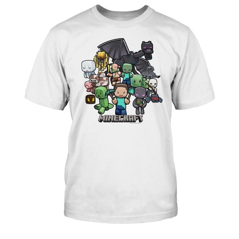 Minecraft white group chibi t shirt licensed new ebay for Mine craft t shirt