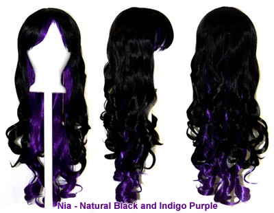 Nia - Natural Black and Indigo Purple