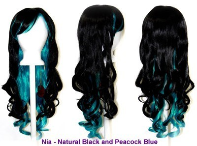Nia - Natural Black and Peacock Blue