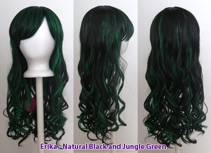 Erika - Natural Black and Jungle Green Blend