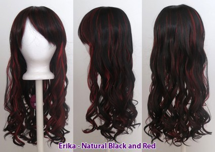 Erika - Natural Black and Scarlet Red Blend