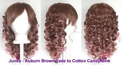 Junko - Auburn Brown and Cotton Candy Pink