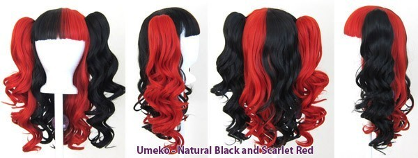 Umeko - Half Natural Black and Half Scarlet Red Split