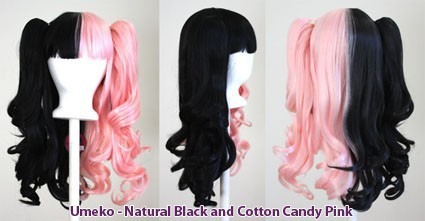 Umeko - Half Natural Black and Half Cotton Candy Pink Split
