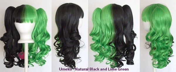 Umeko - Half Natural Black and Half Lime Green Split
