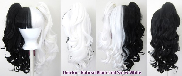 Umeko - Half Natural Black and Half Snow White Split