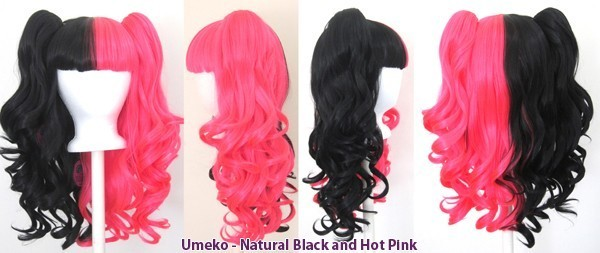 Umeko - Half Natural Black and Half Hot Pink Split