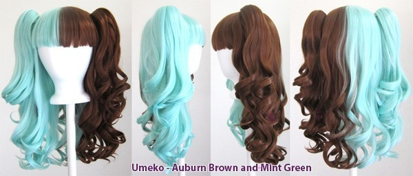 Umeko - Half Auburn Brown and Half Mint Green Split