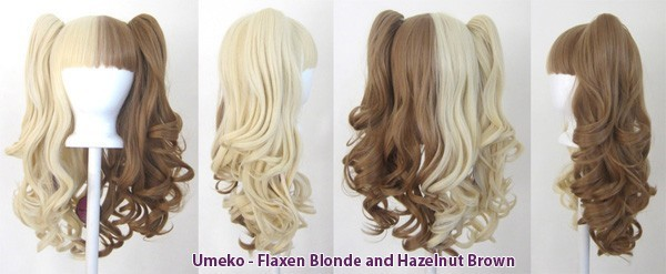 Umeko - Half Flaxen Blonde and Half Hazelnut Brown Split