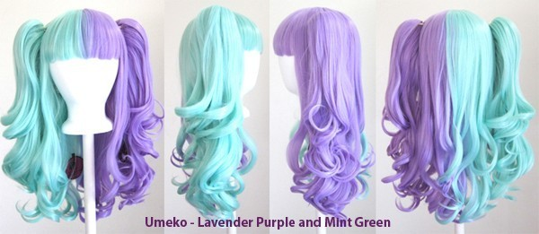 Umeko - Half Lavender Purple and Half Mint Green Split