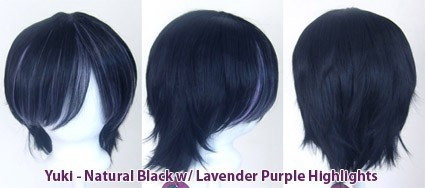 Yuki - Natural Black w/ Lavender Purple Highlights