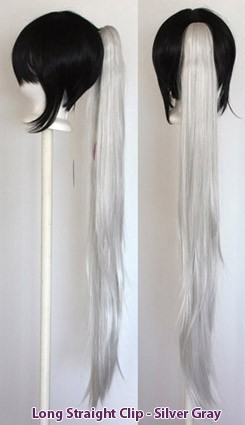 Long Straight Clip - Silver Gray