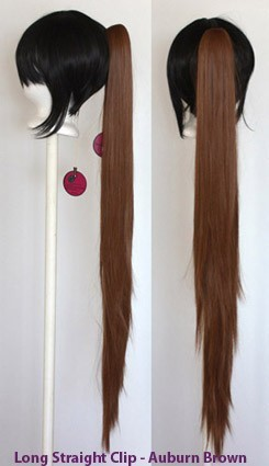 Long Straight Clip - Auburn Brown