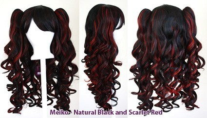 Meiko - Natural Black and Scarlet Red Mixed Blend