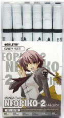 NEOPIKO-2 6 Color Grey Set Deleter Markers