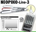 Deleter Neopiko-Line-3 Black 10 Pen Set