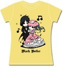 Black Butler Chibi Sebastian and Cross Dressing Ciel T-Shirt Yellow Women's