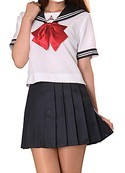 Sailor School Uniform White and Blue with Red Bow Women's Large