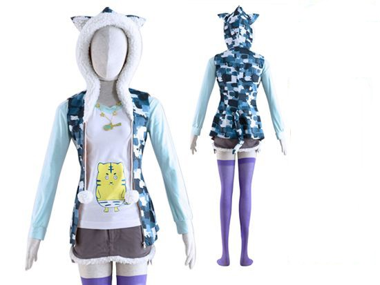 Super Sonico Furry Hooded Cosplay Jacket Costume