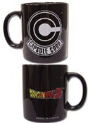 Dragonball Z Capsule Corps Black Coffee Mug Cup