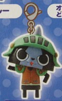 Monster Hunter Blue and Black Cat w/ Green Helmet Chara Mascot Fastener