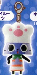 Monster Hunter Blue and White Cat w/ Paw Hat Chara Mascot Fastener