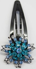 Black Hair Pin Aquamarine Colored Jeweled Flower