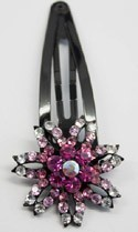 Black Hair Pin Pink Colored Jeweled Flower