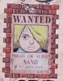 One Piece Sanji Drawing Wanted Key Chain