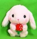 Pote Usa 3'' Pink Bunny Holding Strawberry Amuse Plush Key Chain