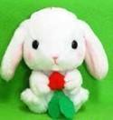 Pote Usa 3'' White Bunny Holding Radish Amuse Plush Key Chain