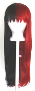 Suzu - Half Natural Black and Half Scarlet Red Split