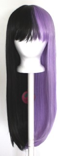 Suzu - Half Natural Black and Half Lavender Purple Split