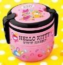 Hello Kitty Vivid Rabbit Two Layered Bento Box Pink