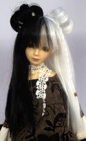 Doll Wig Lolita Buns with Braids Black White Split