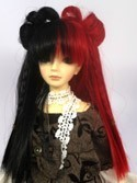 Doll Wig Lolita Buns with Braids Black Red Split