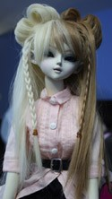 Doll Wig Lolita Buns with Braids Brown Blond Split
