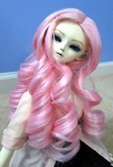 Doll Wig Giant Curls Light Pink