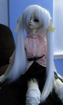 Doll Wig Long Pig Tails White