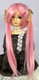 Doll Wig Long Pig Tails Pink