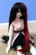 Doll Wig Long Straight Black Red Split