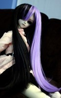 Doll Wig Long Straight Black Lavender Split