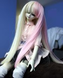 Doll Wig Long Straight Blond Pink Split