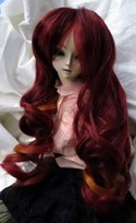 Doll Wig Long Curly Red to Orange Fade