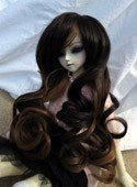 Doll Wig Long Curly Brown Fade