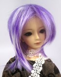 Doll Wig Short Layered White, Indigo Purple