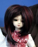 Doll Wig Short Layered Black, Red