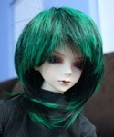 Doll Wig Short Layered Black, Green