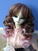Doll Wig Short Layered Curly Brown, Pink