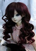 Doll Wig Short Layered Curly Dark Brown, Burgundy